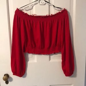 H&M red cropped off-the-shoulder blouse